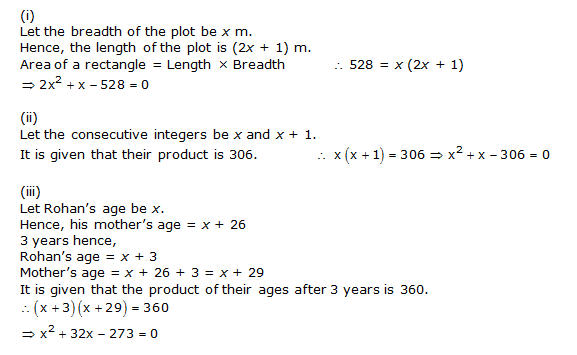 Chapter 4 Quadratic Equations - NCERT Solutions for Class 10