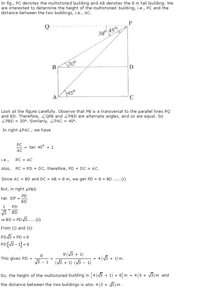 Chapter 12 Heights and Distances - RD Sharma Solutions for Class 10