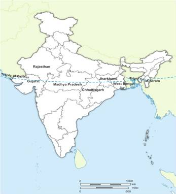 on an outline map of india mark the states through which the tropic ...