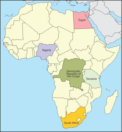 on an outline map of africa mark and label the following countries ...