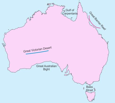 Australia Map Great Australian Bight.On An Outline Map Of Australia Mark And Label The Following