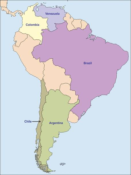 On An Outline Map Of South America Mark And Label The Following