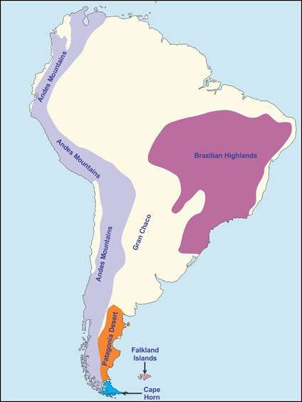 on an outline map of south america mark and label the ...