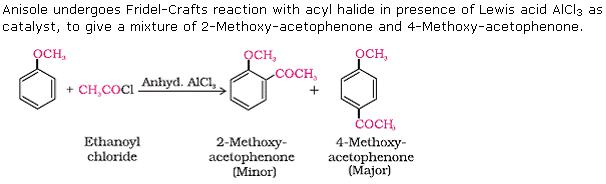 what happens when anisole is treated with ethanoyl chloride