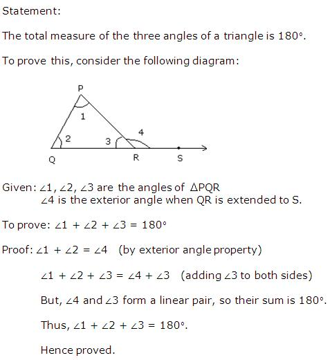 State And Prove The Angle Sum Property Of A Triangle.