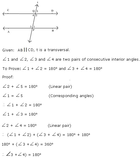 If A Transversal Intersects Two Parallel Lines, Then Prove That Each Pair  Of Consecutive Interior Angles Are Supplementary.