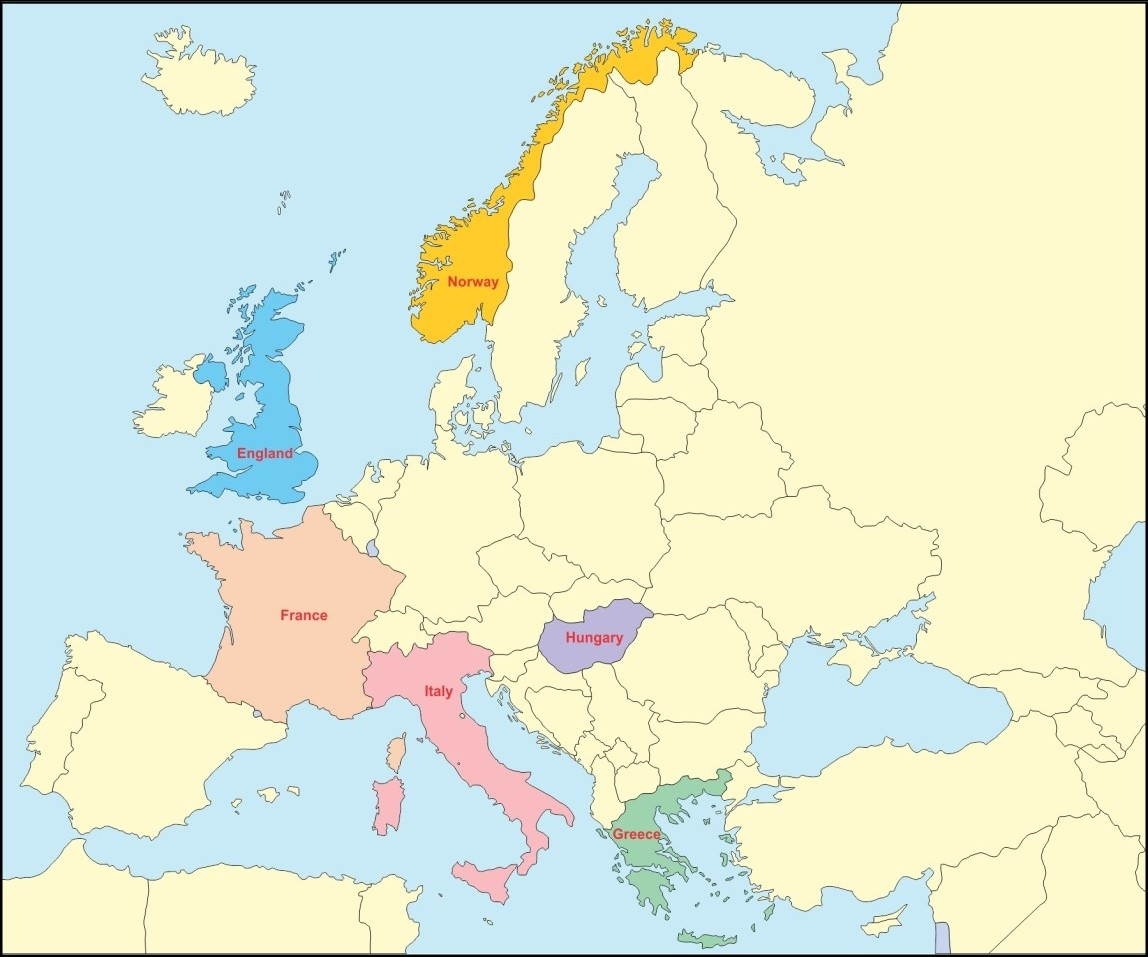 Picture of: In An Outline Map Of Europe Mark The Following Greece Italy France Norway Hungary England Geography Topperlearning Com 7tu0lz33