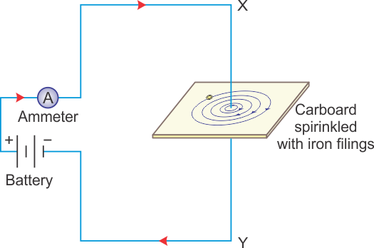 Briefly Explain An Activity To Plot The Magnetic Field Lines Around A Straight Current Carrying Conductor Sketch The Field Pattern For The Same Specif Physics Topperlearning Com 3ze0p4zz