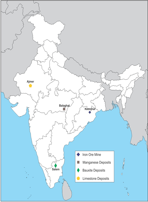 on an outline map of india mark the following an iron ore mine in ...