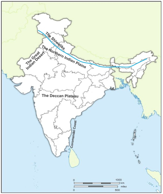 in an outline map of india mark the followings the shiwaliks the ...