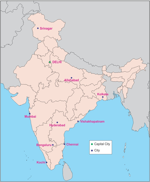 Mark The Following Cities On An Outline Map Of India Capital City Of