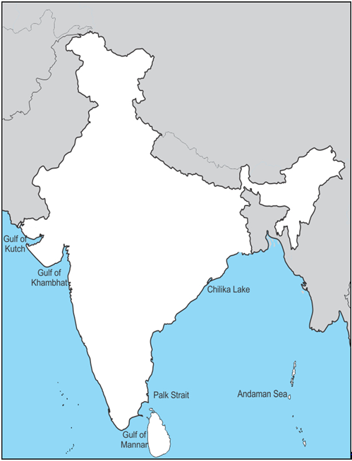 mark the following water bodies on an outline map of india gulf of ...