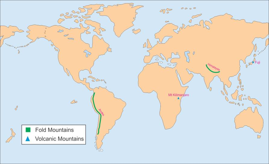 on an outline map of the world mark the following two fold mountains ...
