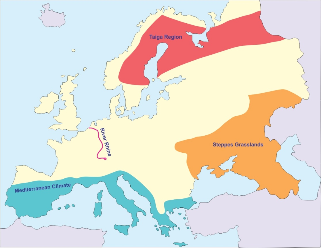 Image of: In An Outline Map Of Europe Mark The Following River Rhine A Region Experiencing Mediterranean Type Of Climate Taiga Region Steppes Grasslands Geography Topperlearning Com O1zdvnmyy
