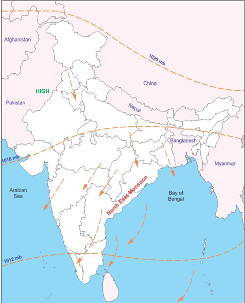 mark the direction of the north east monsoon in the country on an ...