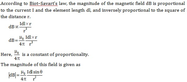 state biot savart law deduce the expression for the magnetic