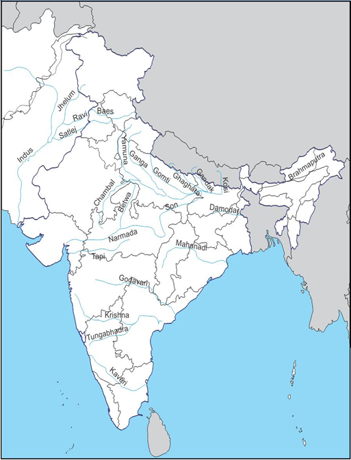 mark the major rivers of india on an outline map of india c1y77l9tt ...