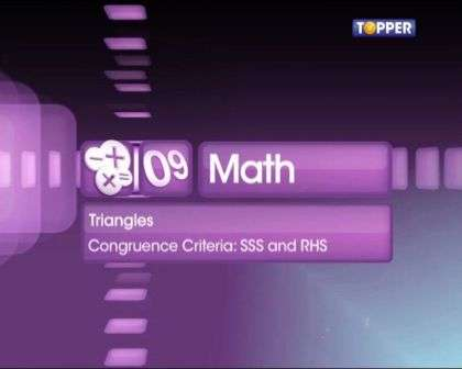 Congruence Criteria: SSS and RHS