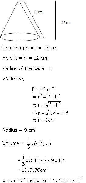 Frank Solutions Icse Class 10 Mathematics Chapter - Mensuration Ii