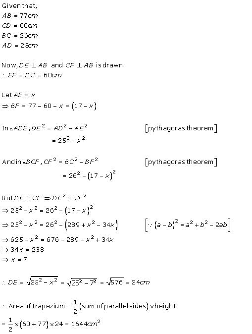 Chapter 17 Heron's Formula - RD Sharma Solutions for Class 9