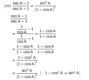 Frank Solutions Icse Class 10 Mathematics Chapter - Trigonometric Identities