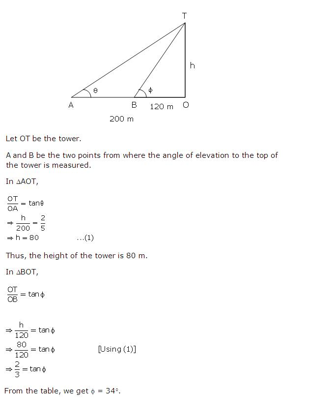 Frank Solutions Icse Class 10 Mathematics Chapter - Heights And Distances