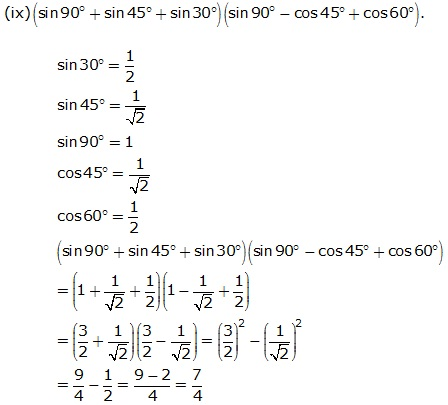 Frank Solutions Icse Class 9 Mathematics Chapter - Trigonometrical Ratios Of Standard Angles