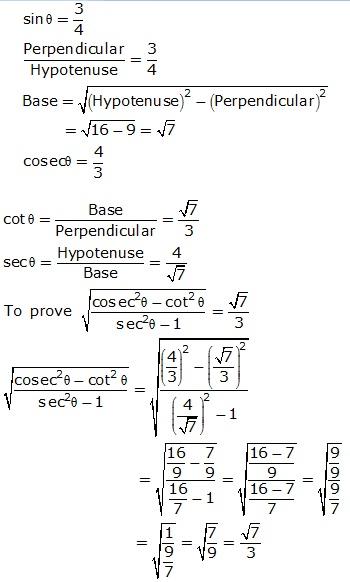 Frank Solutions Icse Class 9 Mathematics Chapter - Trigonometrical Ratios