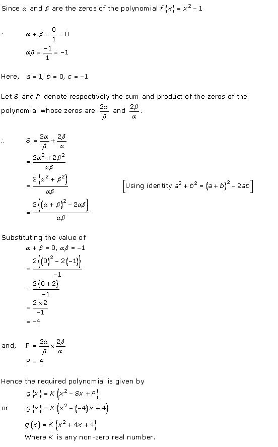 Rd-sharma Solutions Cbse Class 10 Mathematics Chapter - Polynomials