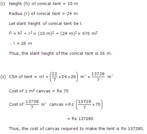 Rd-sharma Solutions Cbse Class 9 Mathematics Chapter - Surface Areas And Volume Of A Right Circular Cone