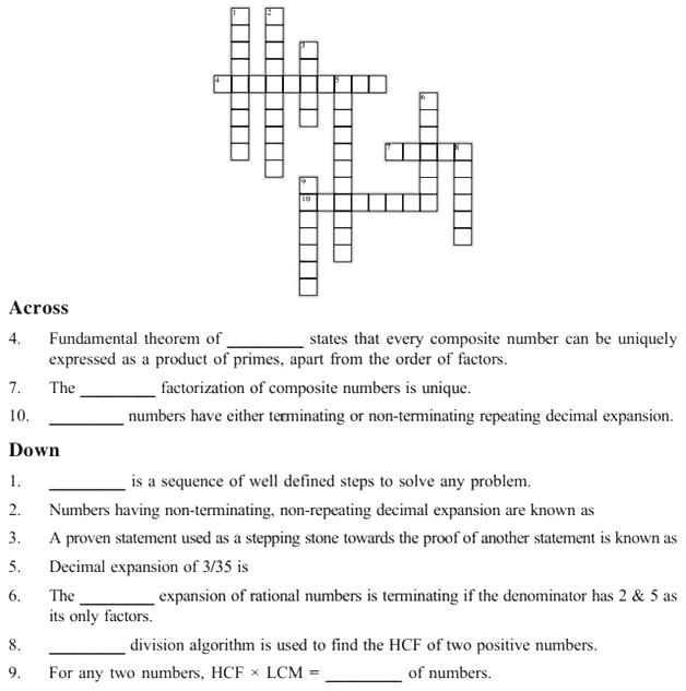 i need a crossword puzzle using rational numbers