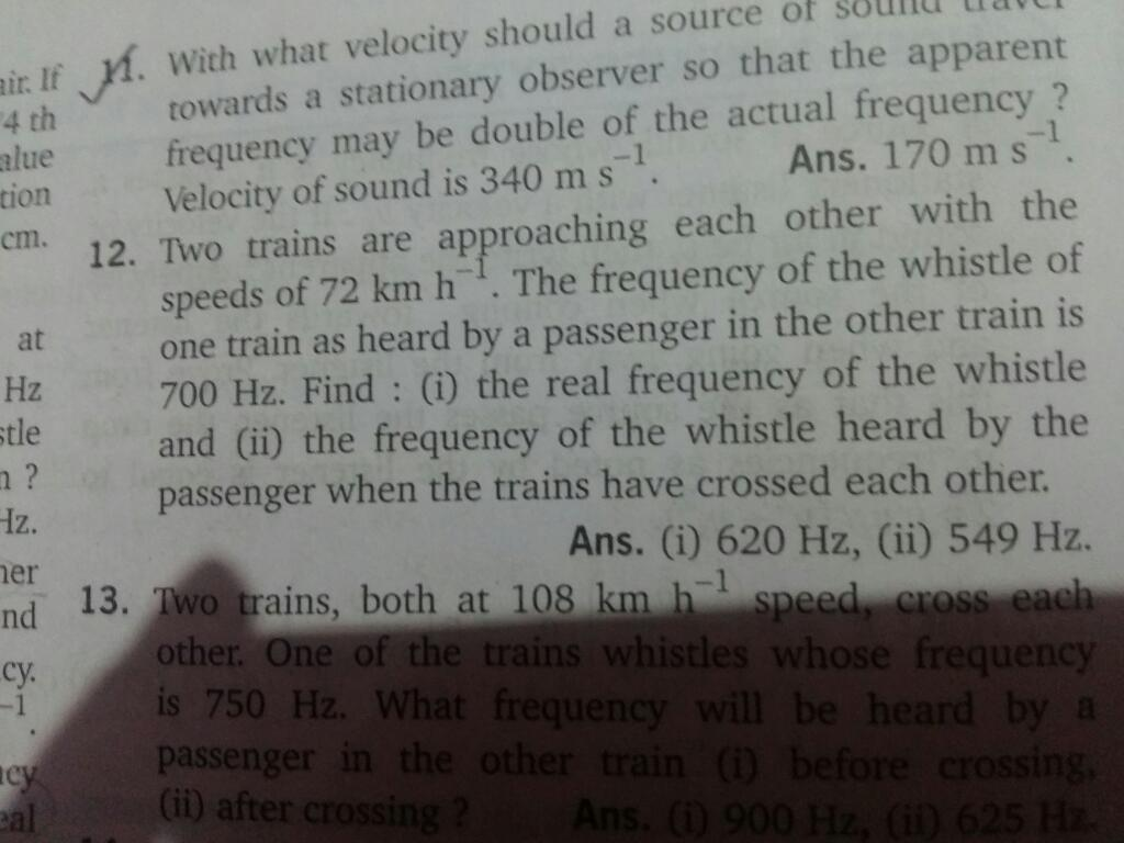 Questions and Answers of Waves Doppler Effect of CBSE Class