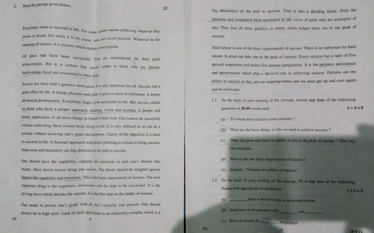please solve this unseen passage gysksjll -English - TopperLearning com