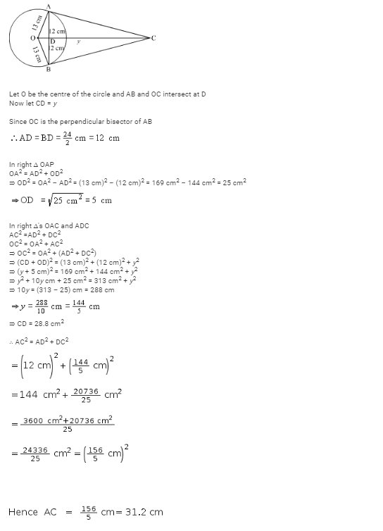 ab is a chord of length 24 cm of a circle of radius 13 cmthe ...