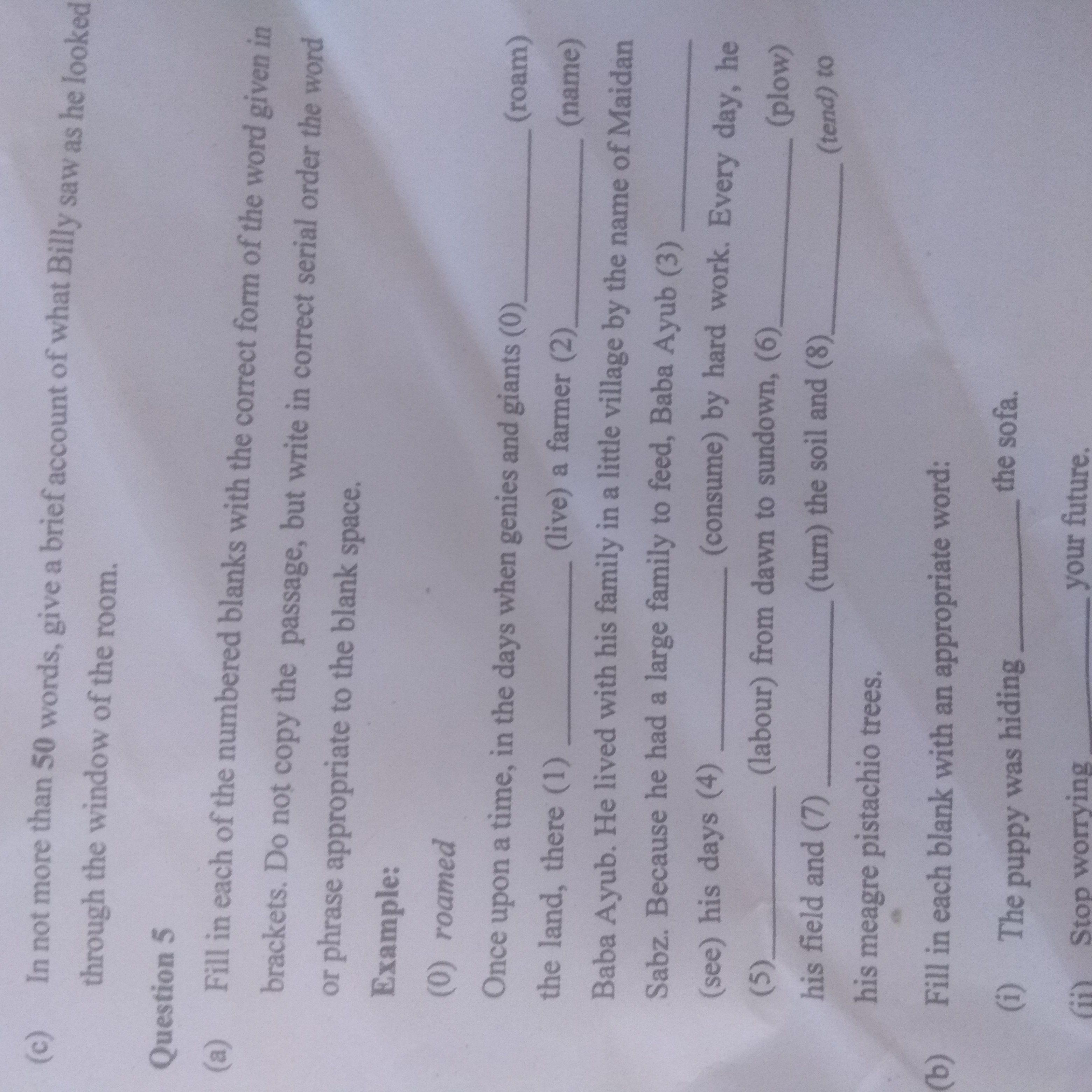 could someone solve the question5 of icse question paper