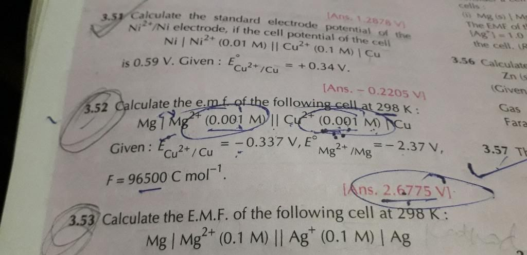 Questions and Answers of Electrochemistry Electrolysis of