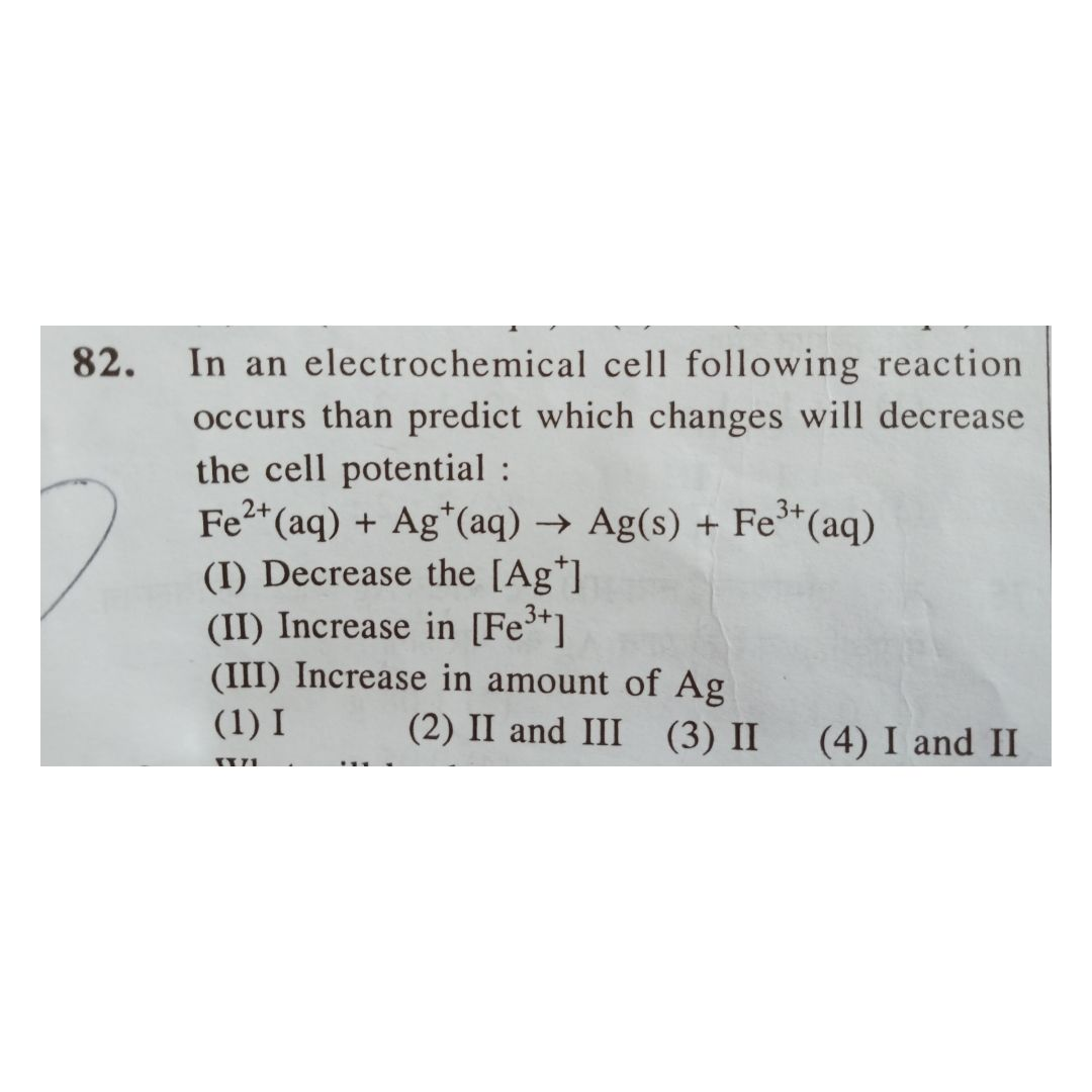 Questions and Answers of Electrochemistry Nernst Equation of