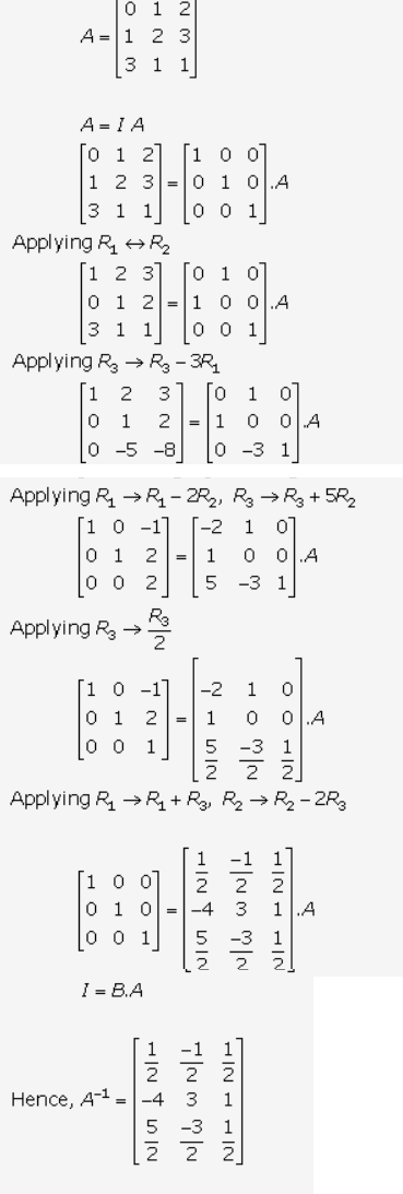 find inverse of matrix using elementary row operation ignore absence