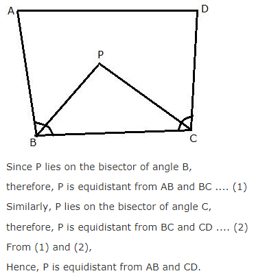 The bisector of angle b and angle c of s quadrilateral abcd the bisector of angle b and angle c of s quadrilateral abcd intersect each other at point p show that p is equidistant from the opposite sides ab and cd ccuart Images