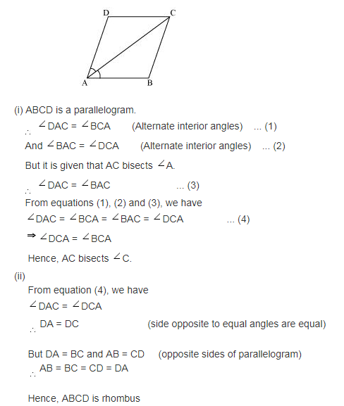 Diagonal Ac Of A Parallelogram Abcd Bisects Angle A A Does Angle A