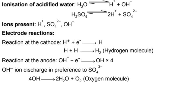 in electrolysis of acidified water why 2 vol of hydrogen and 1 vol