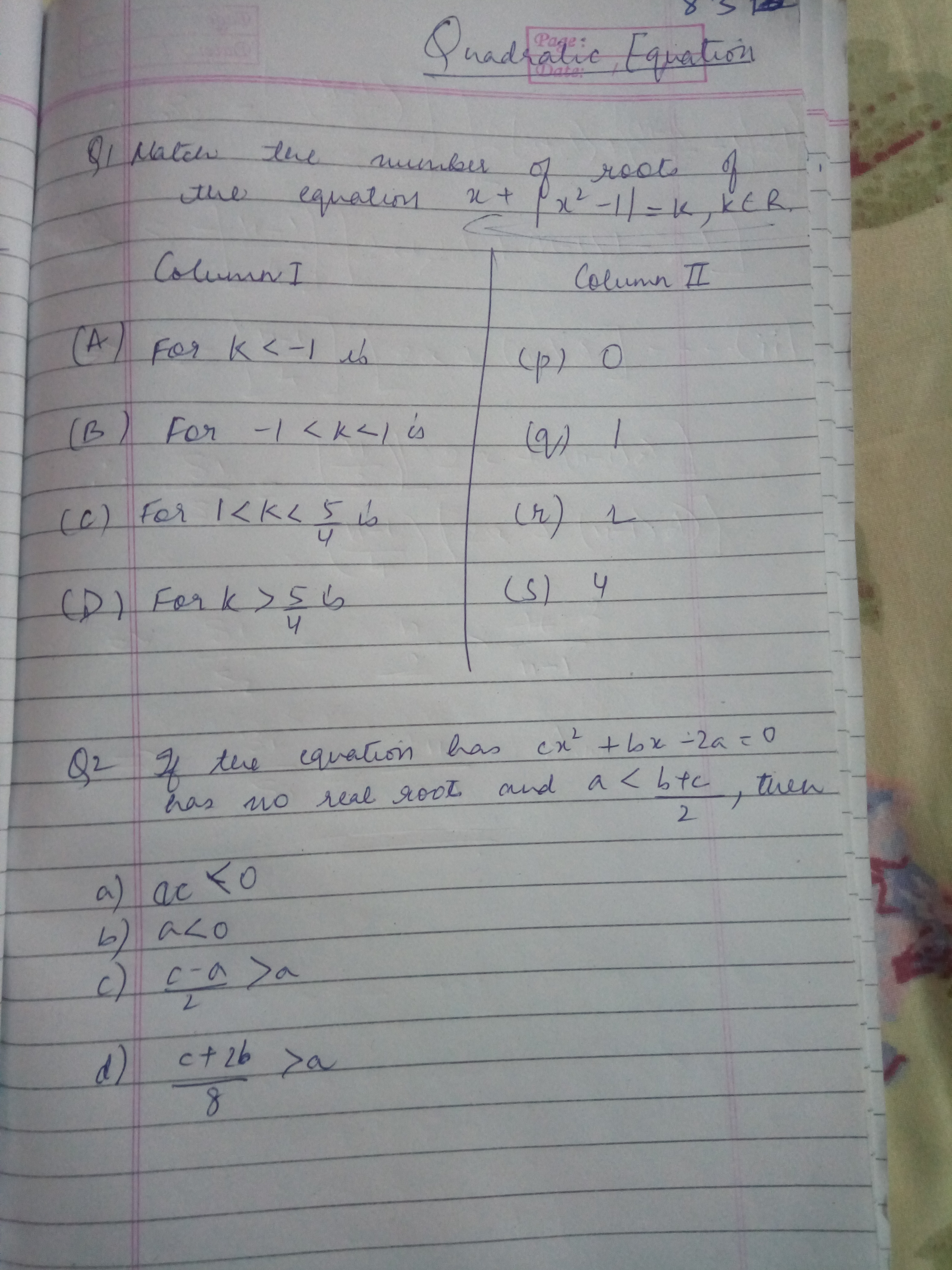 how to write a quadratic equation with given solutions