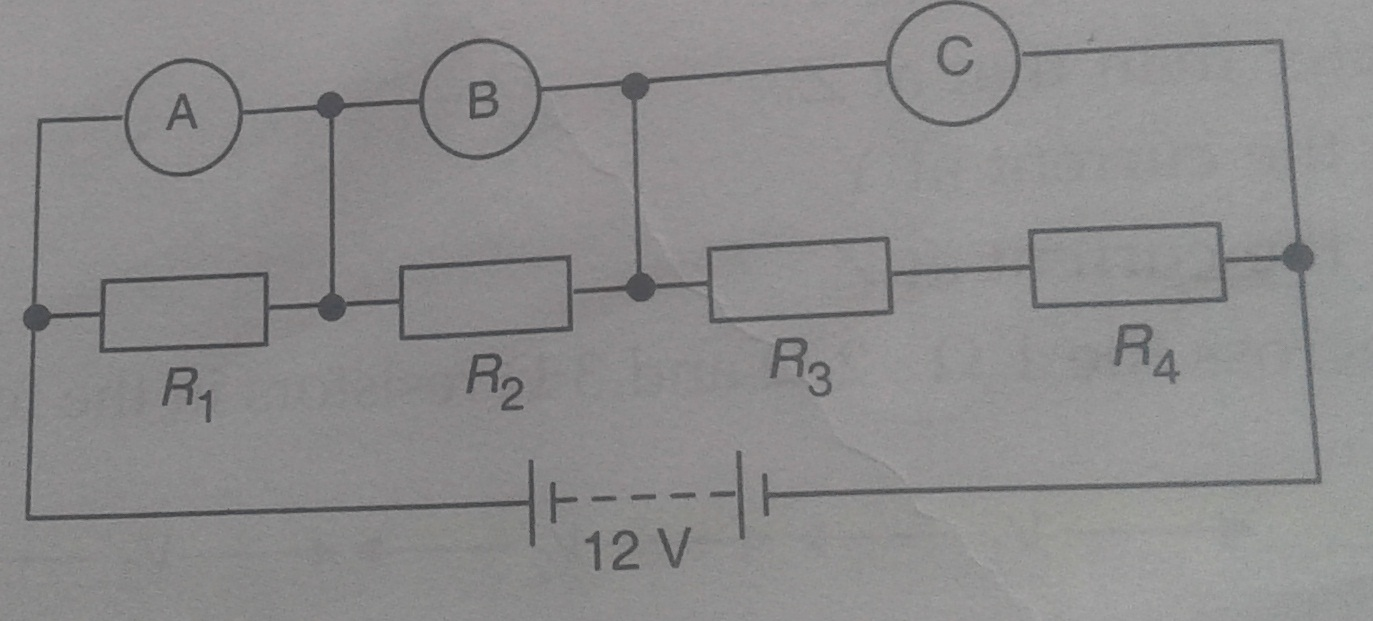 Questions And Answers Of Electricity Resistors In Series Connect A Simple Circuit With Voltmeter Ammeter As Shown What Would You Expect The Voltmeters Ab C To Read Assuming That Connecting Wires Have Negligible Resistance