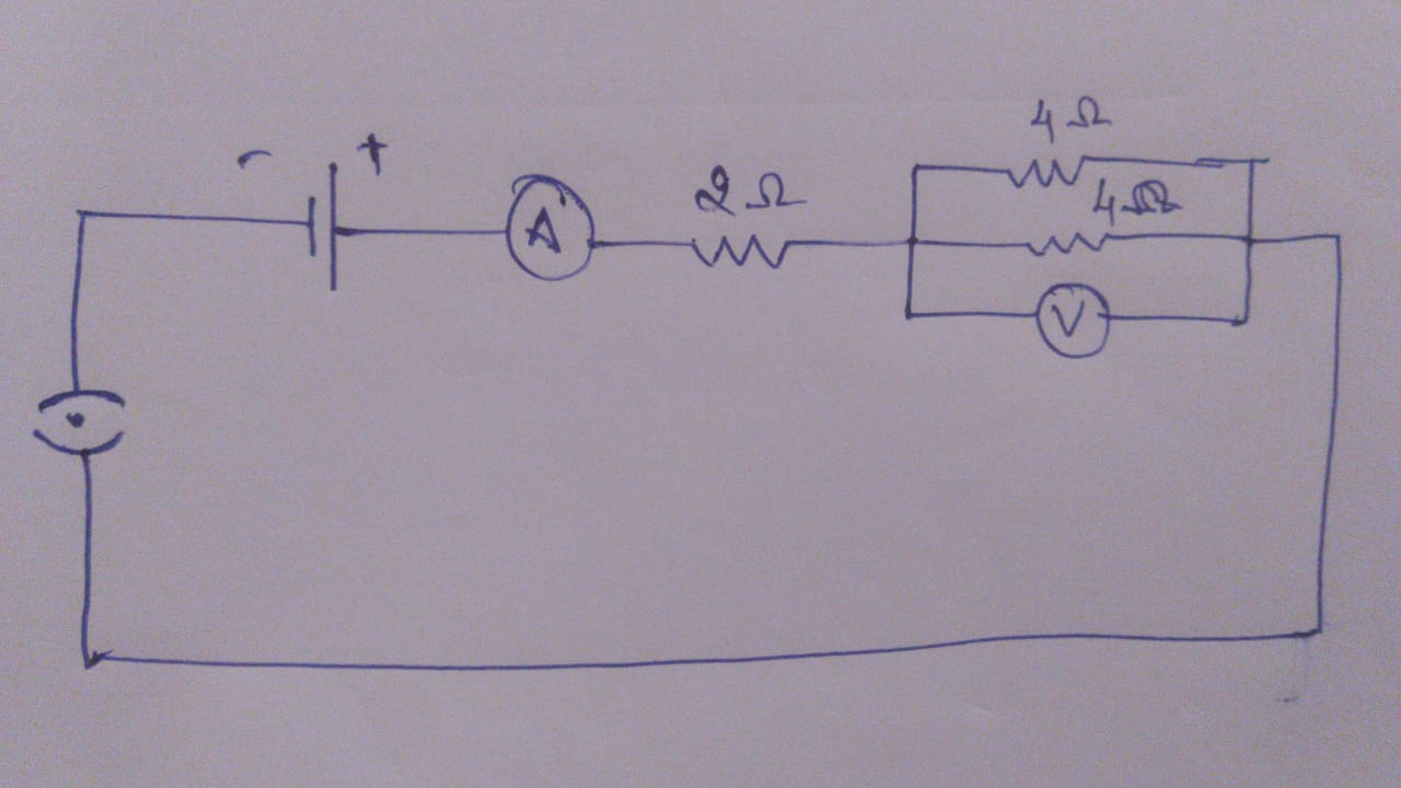 draw a circuit diagram of an electric circuit containing a cell a key an  ammeter a resister of 2 ohm in series with a combination of two resisters  of - Physics - [ 720 x 1280 Pixel ]