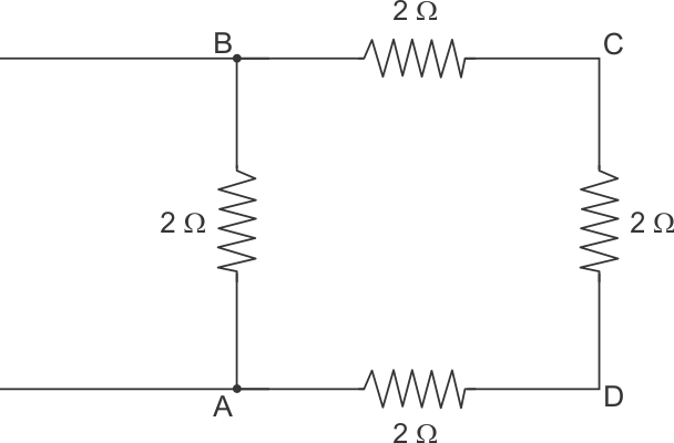 four resistors of 2  u03a9 each are joined end to end to form a square abcd calculate the equivalent