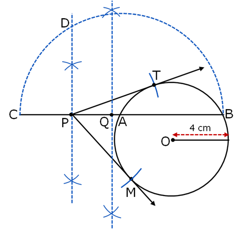 draw a circle of radius 4 cm take a point p outside the