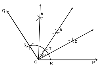 how to construct any obtuse angle and divide it into four
