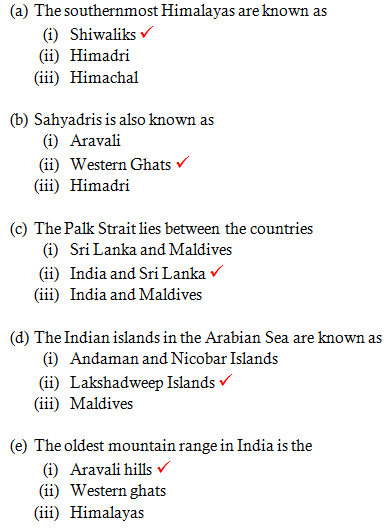 Chapter 7 Our Country - India - NCERT Solutions for Class 6