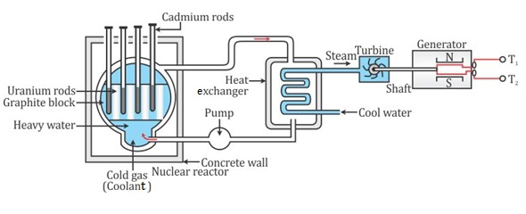 a nuclear power plant produces electricity with the help of a nuclear fuel  (uranium-235 or plutonium-239) through a self-sustaining fission chain  reaction