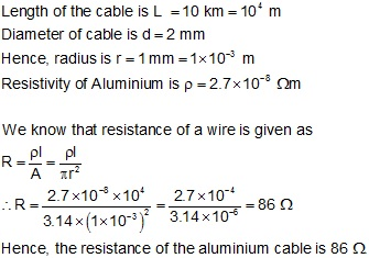 Calculate the resistance of an aluminium cable of length 10km and answered by expert 6th may 2015 642 pm keyboard keysfo Choice Image